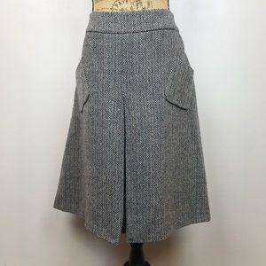 Celine Herringbone Wool Skirt Black/Cream Distressed A-line.